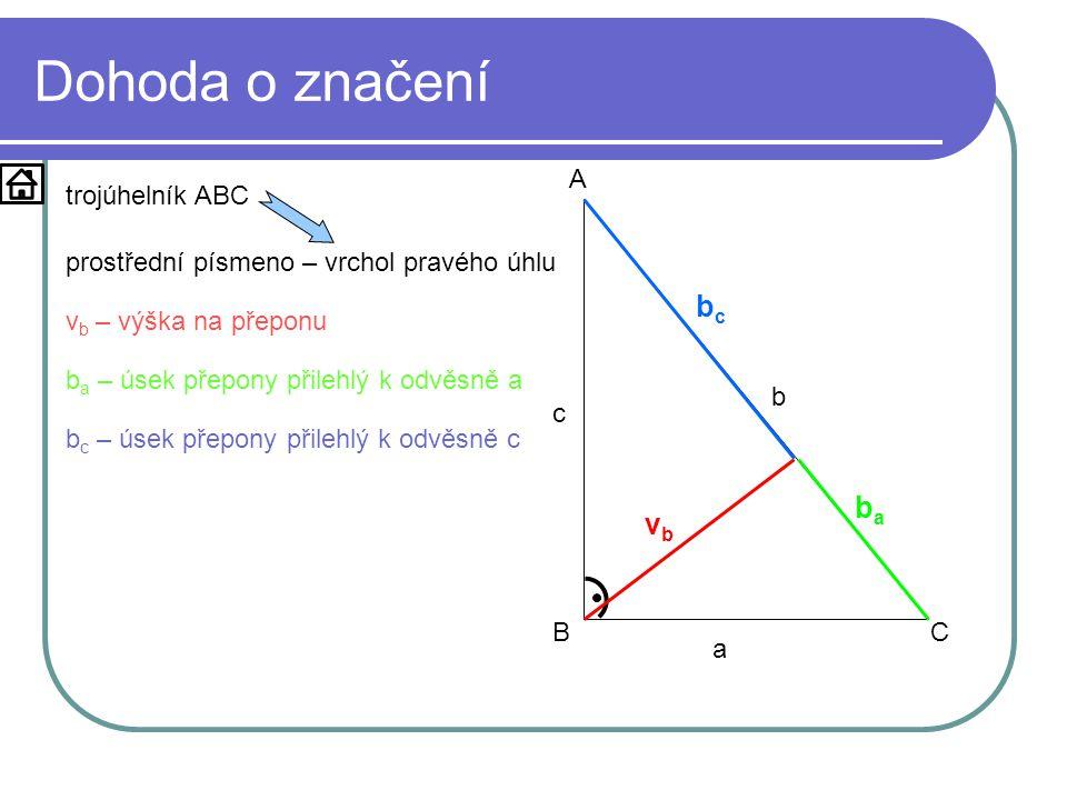 Dohoda o značení a b c A BC vbvb bcbc baba trojúhelník ABC prostřední písmeno – vrchol pravého úhlu v b – výška na přeponu b a – úsek přepony přilehlý k odvěsně a b c – úsek přepony přilehlý k odvěsně c