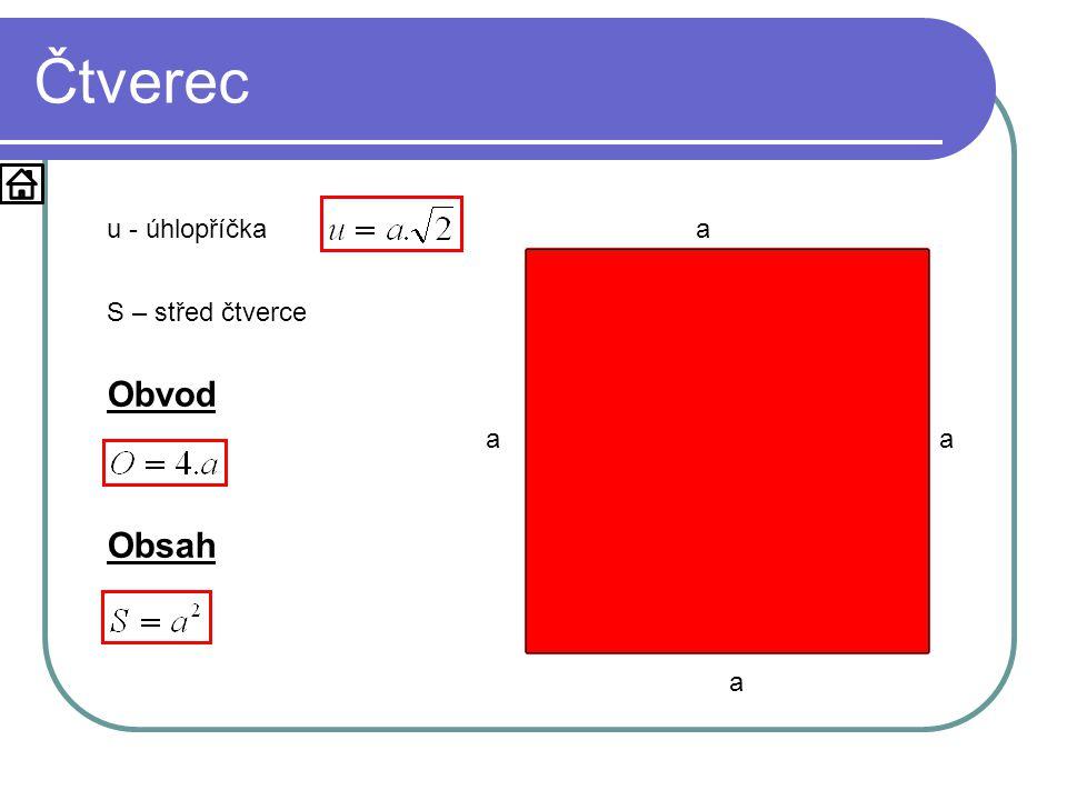 Čtverec a a a a u u - úhlopříčka u S S – střed čtverce Obvod Obsah