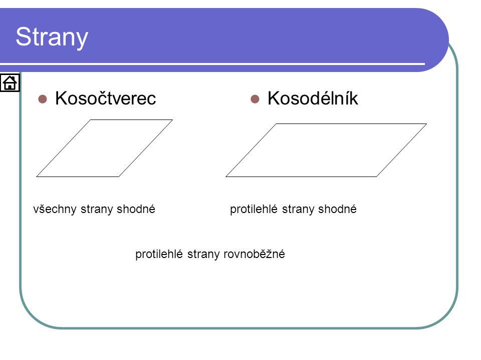 Strany  Kosočtverec  Kosodélník všechny strany shodnéprotilehlé strany shodné protilehlé strany rovnoběžné