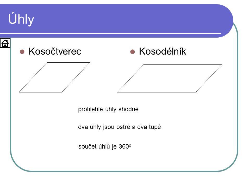 Úhly  Kosočtverec  Kosodélník protilehlé úhly shodné dva úhly jsou ostré a dva tupé součet úhlů je 360 o