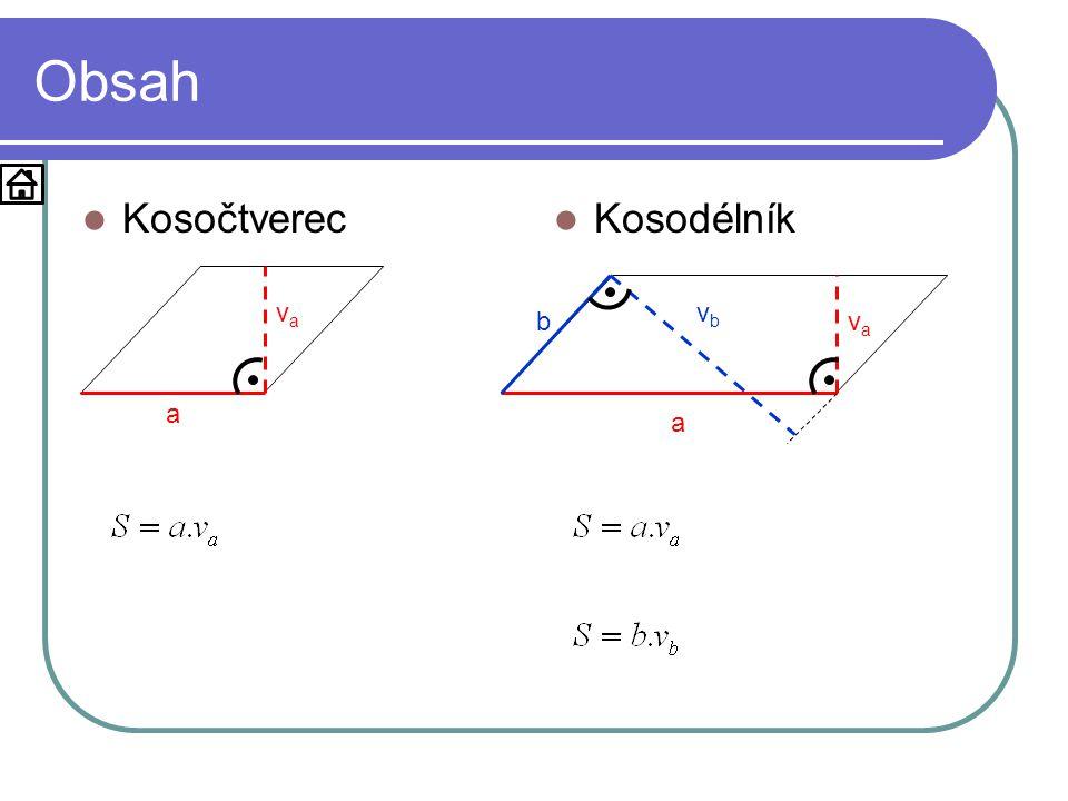 Obsah  Kosočtverec  Kosodélník a vava a vava b vbvb