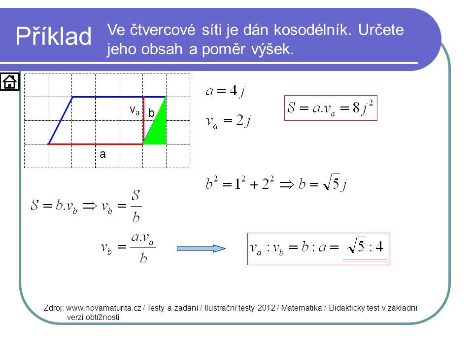 Příklad Ve čtvercové síti je dán kosodélník. Určete jeho obsah a poměr výšek. Zdroj: www.novamaturita.cz / Testy a zadání / Ilustrační testy 2012 / Ma