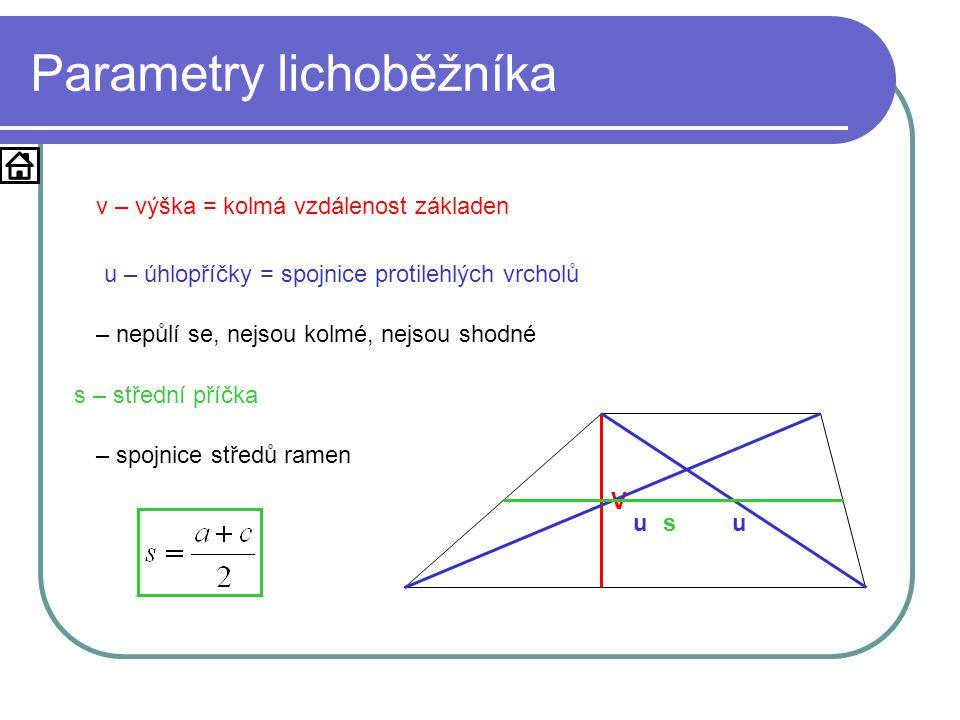Parametry lichoběžníka V v – výška = kolmá vzdálenost základen uu u – úhlopříčky = spojnice protilehlých vrcholů – nepůlí se, nejsou kolmé, nejsou shodné s s – střední příčka – spojnice středů ramen