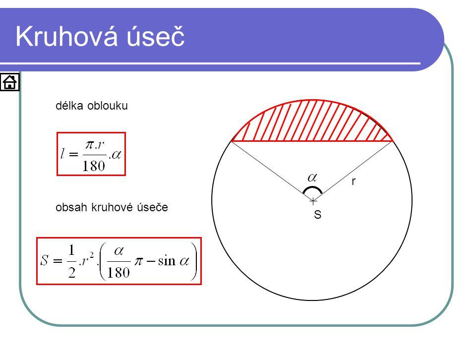 Kruhová úseč S r délka oblouku obsah kruhové úseče