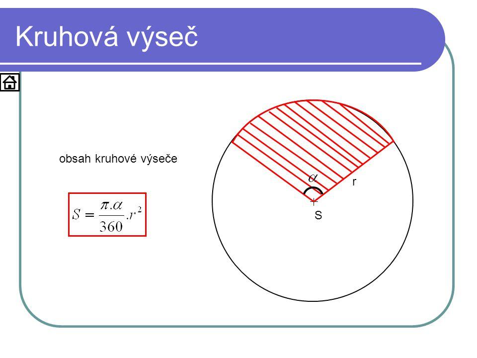 Kruhová výseč S r obsah kruhové výseče