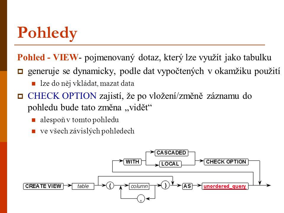 Pohledy Pohled - VIEW- pojmenovaný dotaz, který lze využít jako tabulku  generuje se dynamicky, podle dat vypočtených v okamžiku použití  lze do něj