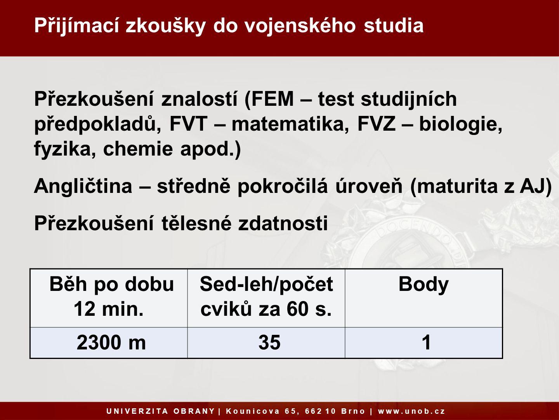 Přijímací zkoušky do vojenského studia U N I V E R Z I T A O B R A N Y   K o u n i c o v a 6 5, 6 6 2 1 0 B r n o   w w w.