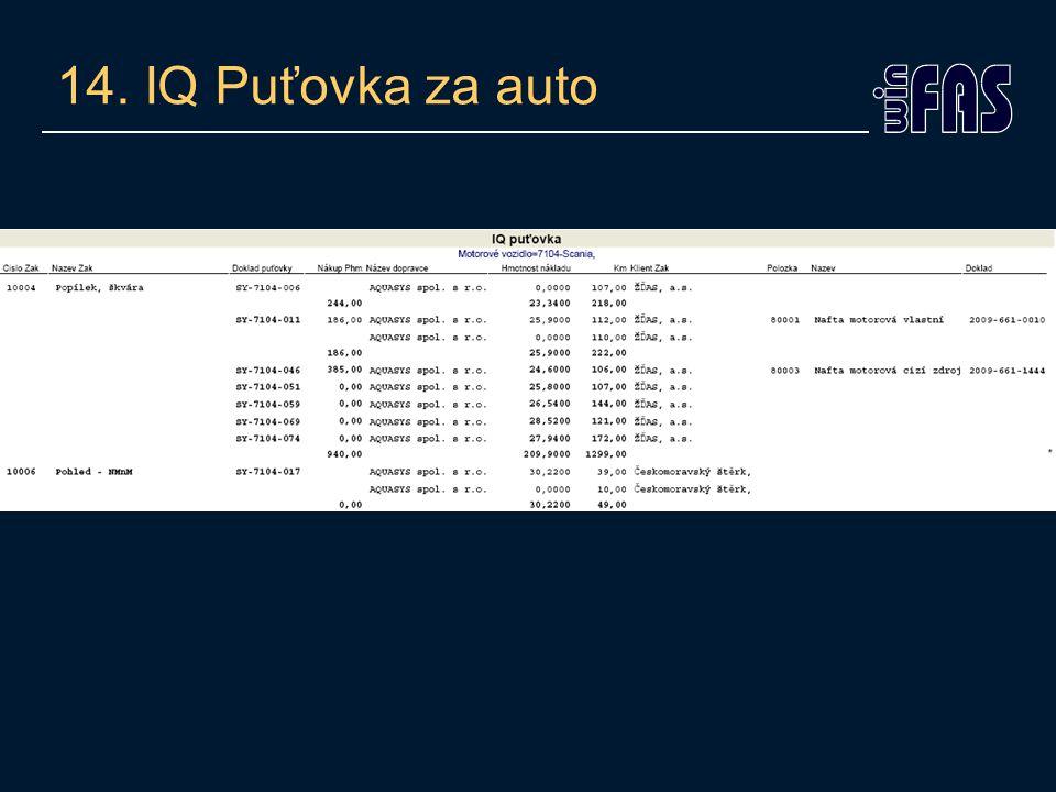 14. IQ Puťovka za auto