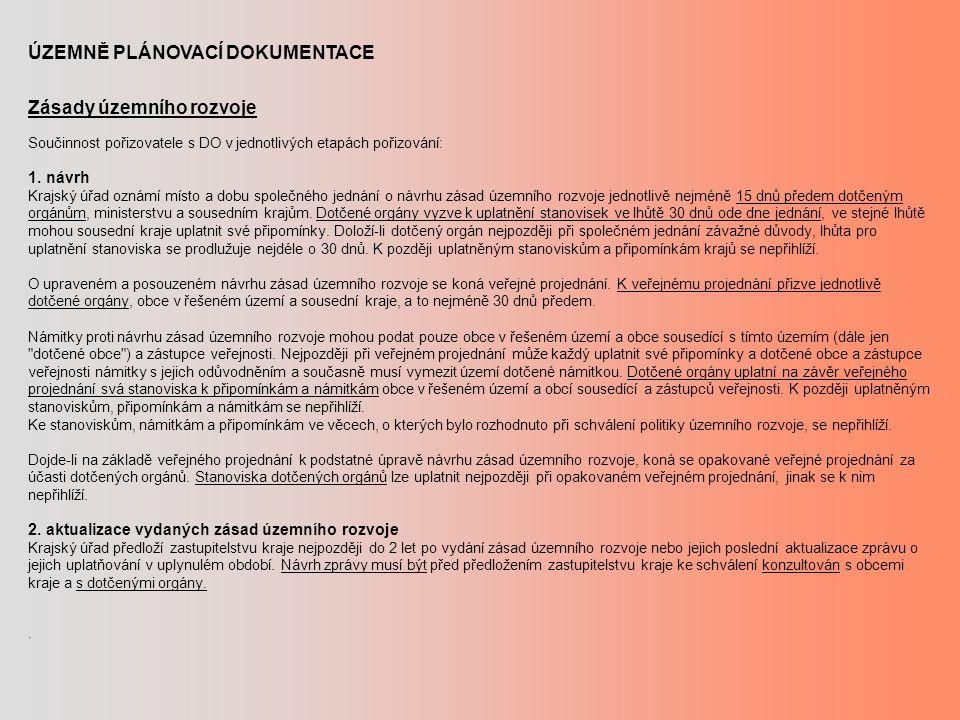 ÚZEMNĚ PLÁNOVACÍ DOKUMENTACE Zásady územního rozvoje Součinnost pořizovatele s DO v jednotlivých etapách pořizování: 1. návrh Krajský úřad oznámí míst