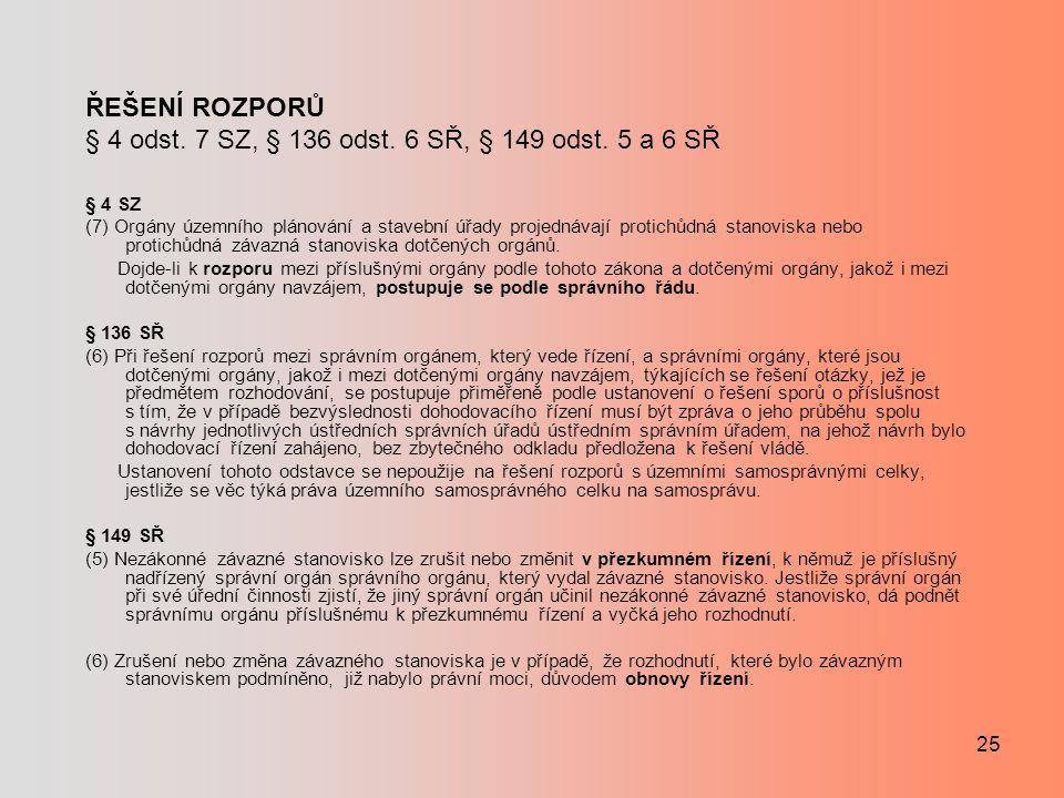 ŘEŠENÍ ROZPORŮ § 4 odst. 7 SZ, § 136 odst. 6 SŘ, § 149 odst. 5 a 6 SŘ § 4 SZ (7) Orgány územního plánování a stavební úřady projednávají protichůdná s