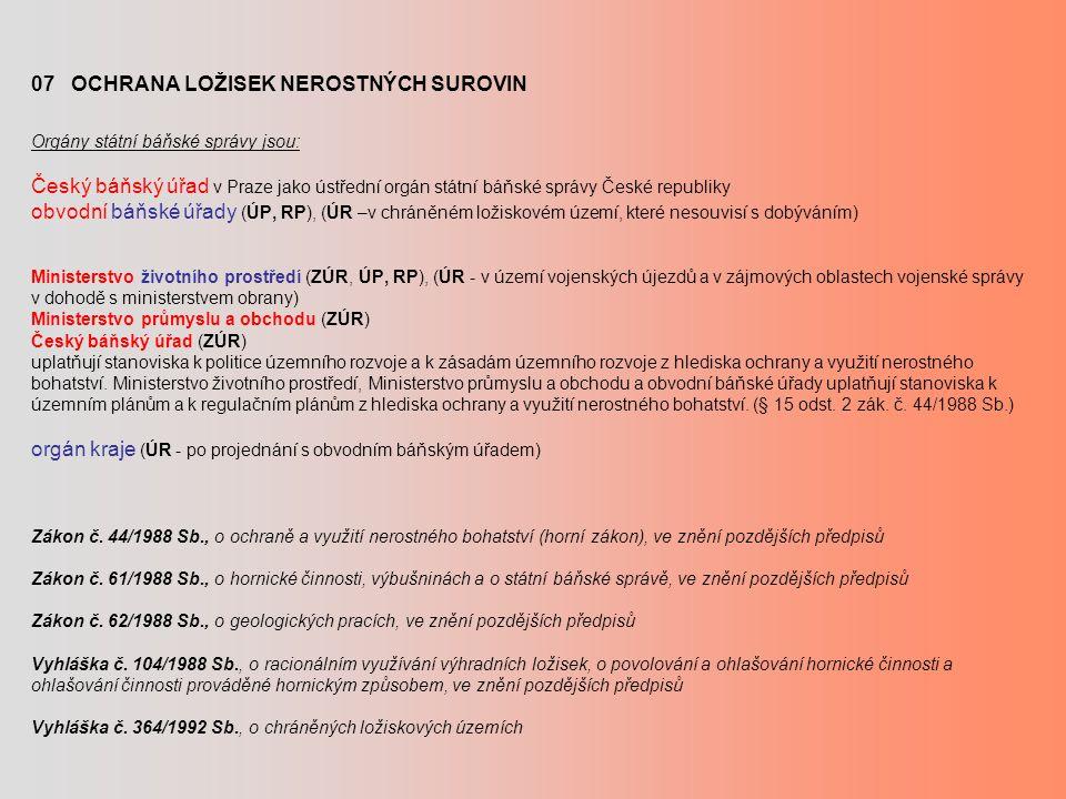 07 OCHRANA LOŽISEK NEROSTNÝCH SUROVIN Orgány státní báňské správy jsou: Český báňský úřad v Praze jako ústřední orgán státní báňské správy České repub