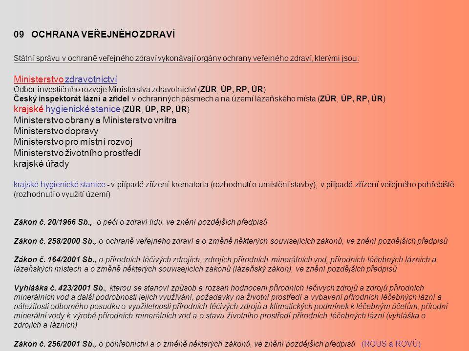 09 OCHRANA VEŘEJNÉHO ZDRAVÍ Státní správu v ochraně veřejného zdraví vykonávají orgány ochrany veřejného zdraví, kterými jsou: Ministerstvo zdravotnic