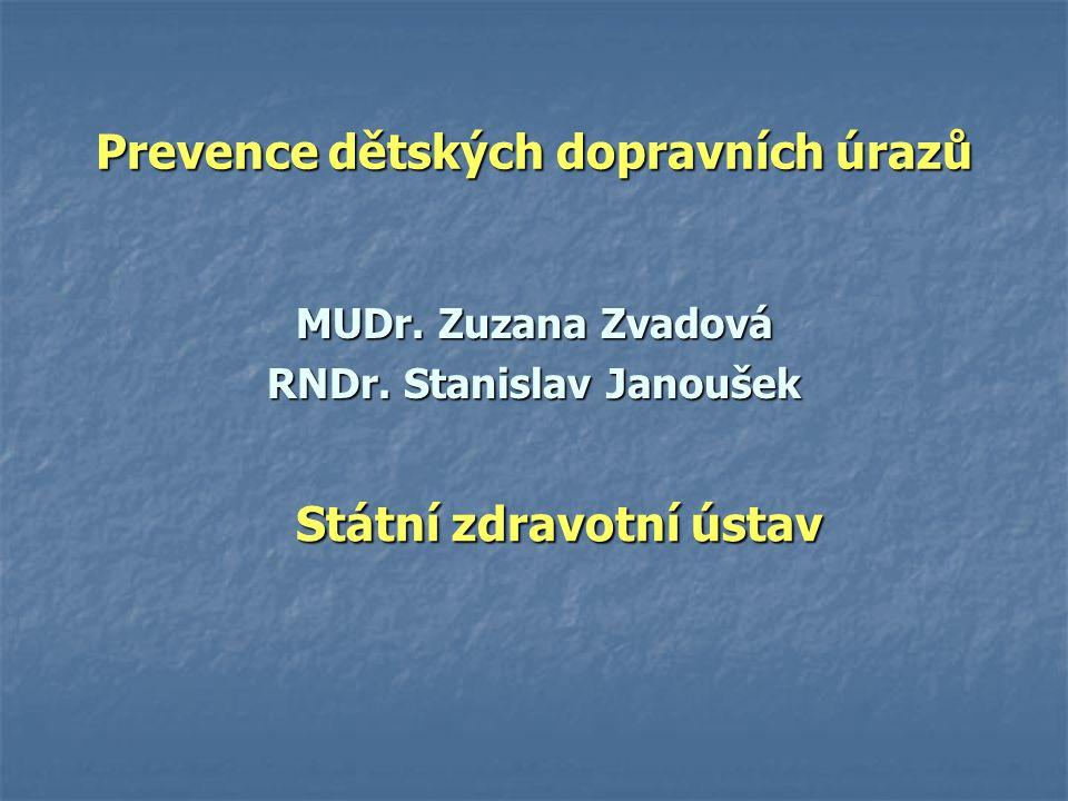 Prevence dětských dopravních úrazů MUDr. Zuzana Zvadová RNDr. Stanislav Janoušek Státní zdravotní ústav