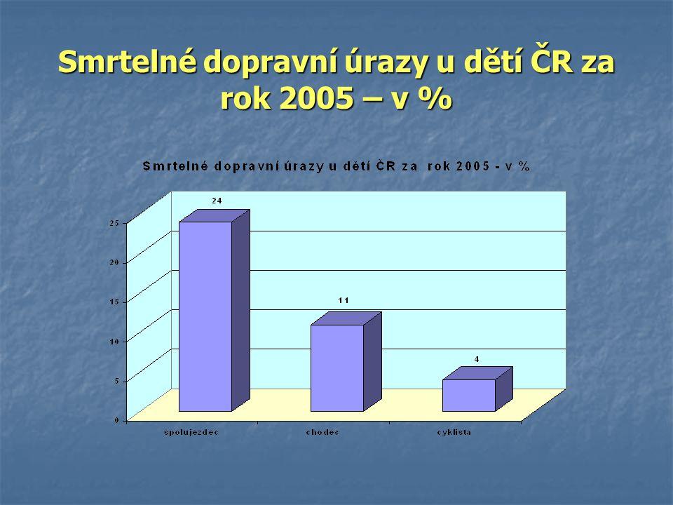 Smrtelné dopravní úrazy u dětí ČR za rok 2005 – v %