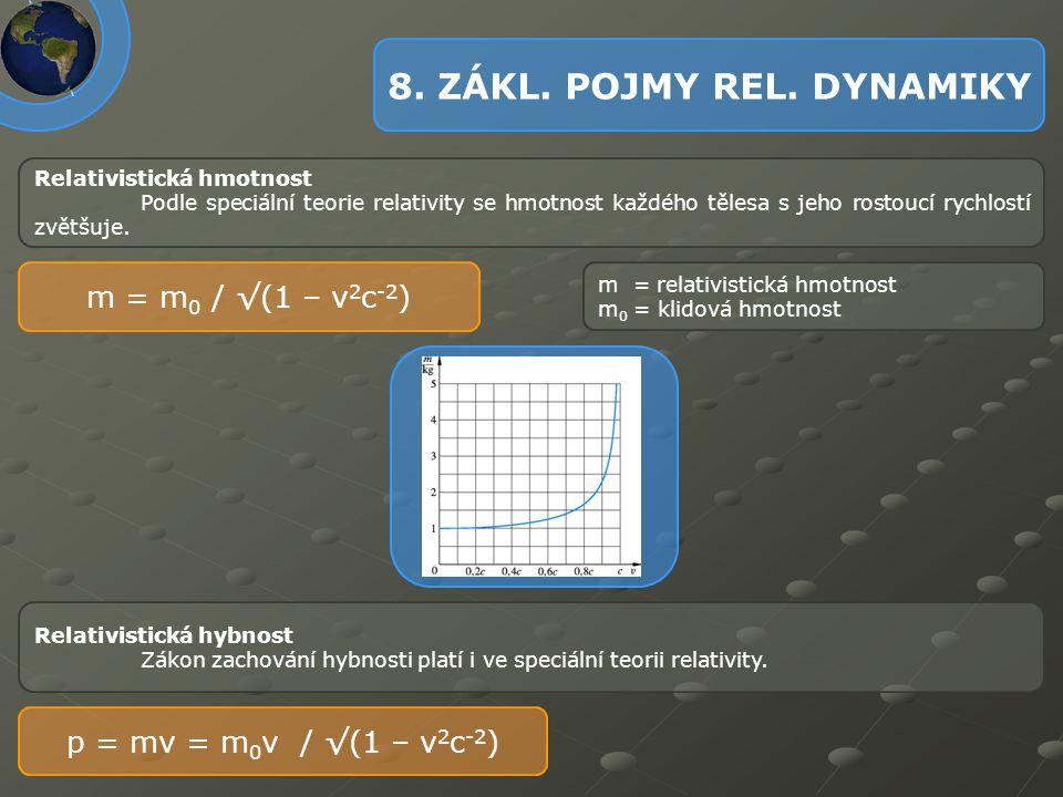 Relativistická hmotnost Podle speciální teorie relativity se hmotnost každého tělesa s jeho rostoucí rychlostí zvětšuje. m = m 0 / √(1 – v 2 c -2 ) m