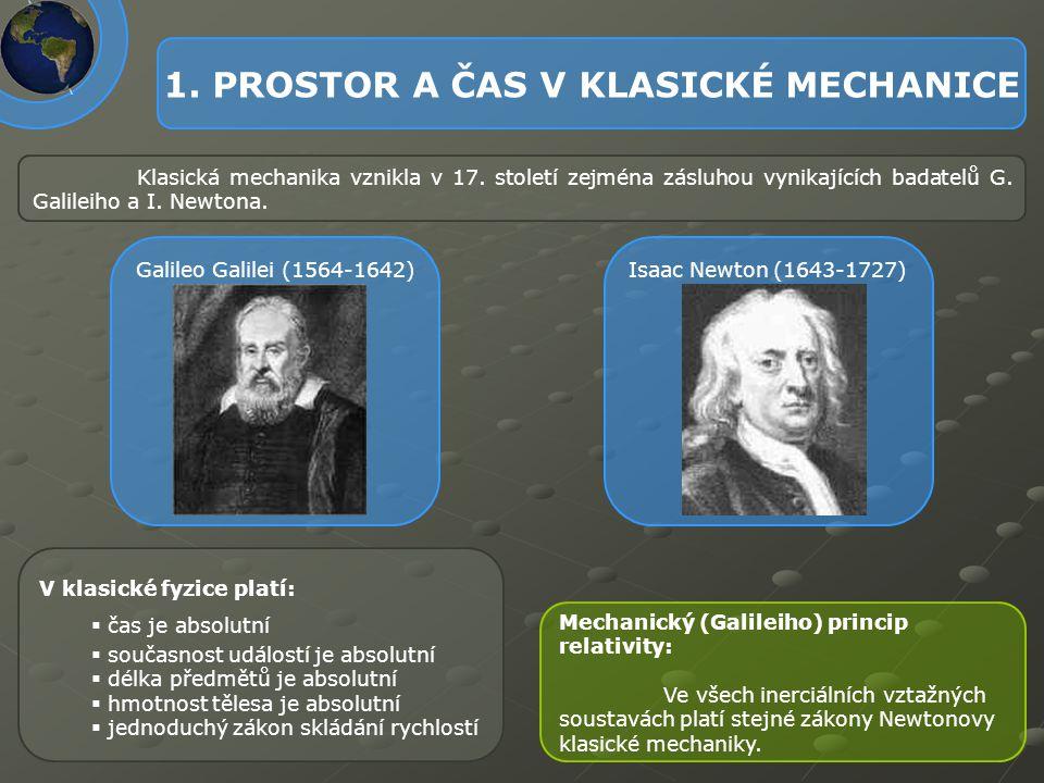 1. PROSTOR A ČAS V KLASICKÉ MECHANICE Klasická mechanika vznikla v 17. století zejména zásluhou vynikajících badatelů G. Galileiho a I. Newtona. V kla