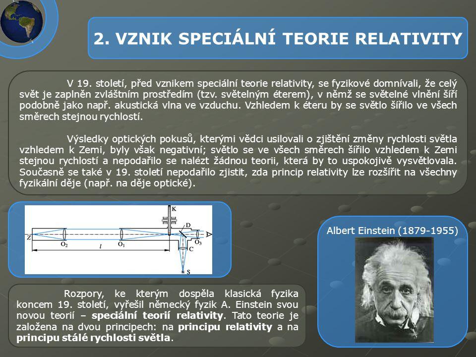2. VZNIK SPECIÁLNÍ TEORIE RELATIVITY V 19. století, před vznikem speciální teorie relativity, se fyzikové domnívali, že celý svět je zaplněn zvláštním