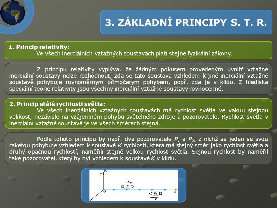 3. ZÁKLADNÍ PRINCIPY S. T. R. 1. Princip relativity: Ve všech inerciálních vztažných soustavách platí stejné fyzikální zákony. Z principu relativity v