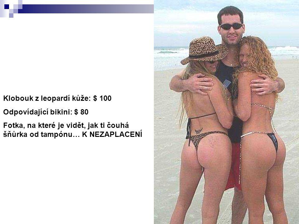 Klobouk z leopardí kůže: $ 100 Odpovídající bikini: $ 80 Fotka, na které je vidět, jak ti čouhá šňůrka od tampónu… K NEZAPLACENÍ