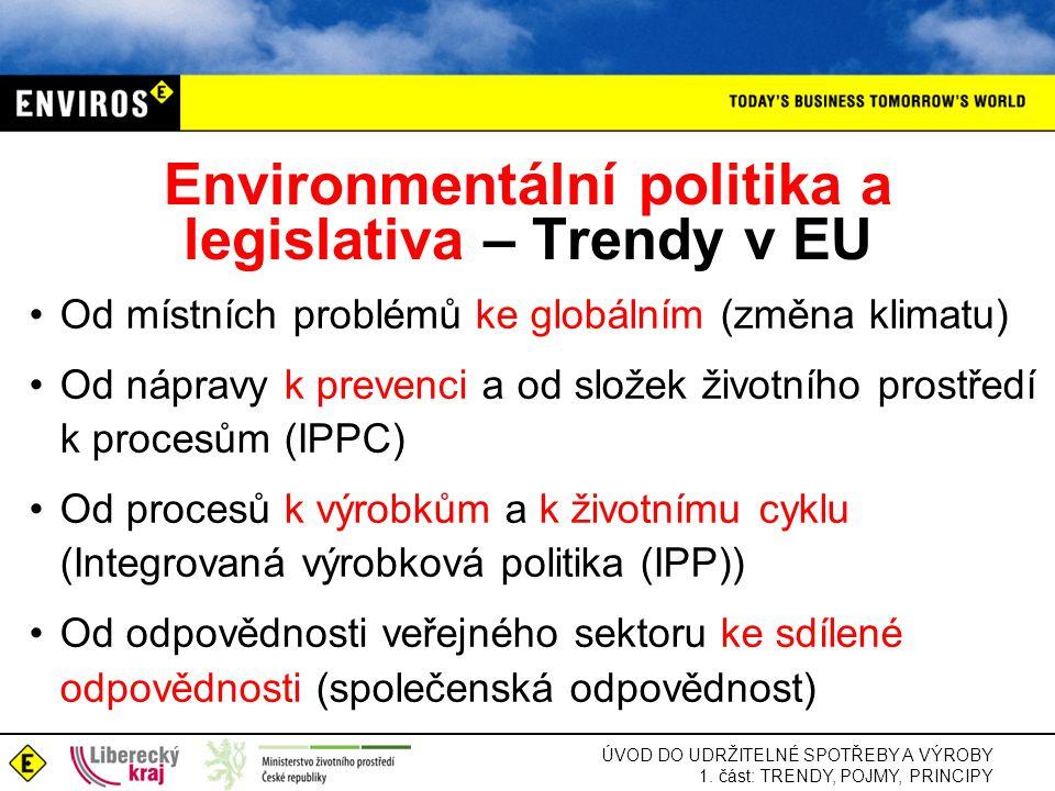 ÚVOD DO UDRŽITELNÉ SPOTŘEBY A VÝROBY 1. část: TRENDY, POJMY, PRINCIPY Environmentální politika a legislativa – Trendy v EU •Od místních problémů ke gl