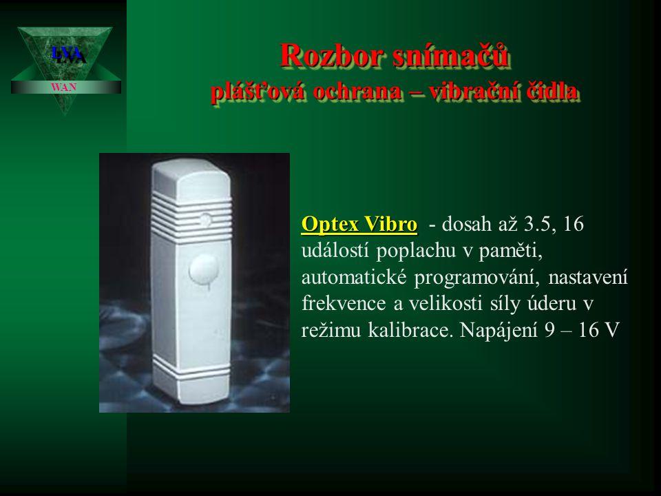 Rozbor snímačů plášťová ochrana – vibrační čidla LVALVA WAN Optex Vibro Optex Vibro - dosah až 3.5, 16 událostí poplachu v paměti, automatické programování, nastavení frekvence a velikosti síly úderu v režimu kalibrace.