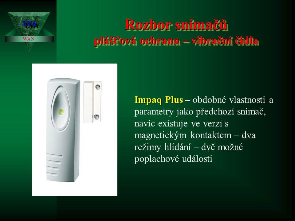 Rozbor snímačů plášťová ochrana – vibrační čidla LVALVA WAN Impaq Plus – Impaq Plus – obdobné vlastnosti a parametry jako předchozí snímač, navíc existuje ve verzi s magnetickým kontaktem – dva režimy hlídání – dvě možné poplachové události