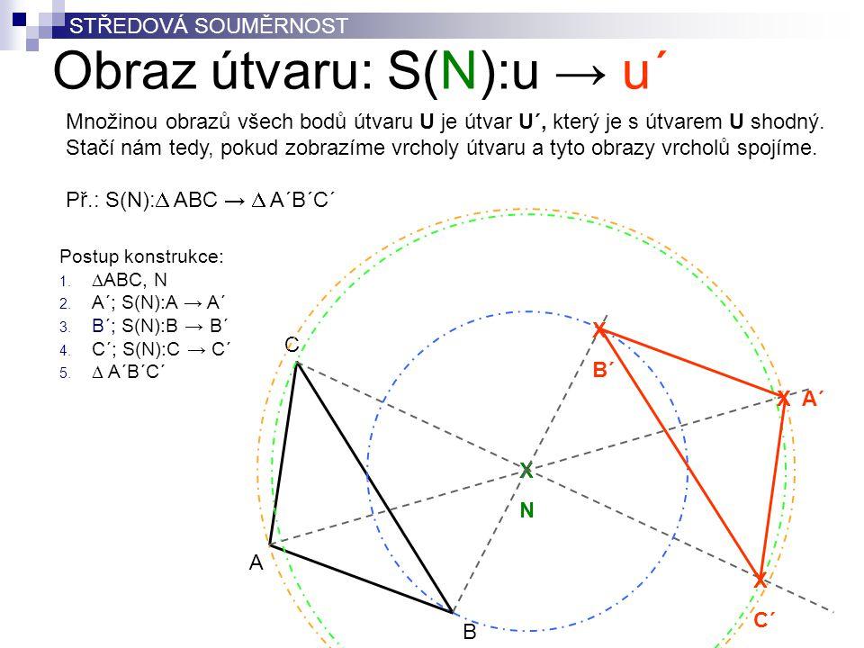 Obraz útvaru: S(N):u → u´ C A B XNXN X C´ X B´ X A´ Postup konstrukce: 1.  ABC, N 2. A´; S(N):A → A´ 3. B´; S(N):B → B´ 4. C´; S(N):C → C´ 5.  A´B´C