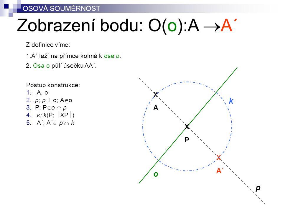 Zobrazení bodu: O(o):A  A´ Postup konstrukce: 1. A, o 2. p; p  o; A  o 3. P; P  o  p 4. k; k(P;  XP  ) 5. A´; A´  p  k XAXA X A´ o p k OSOVÁ