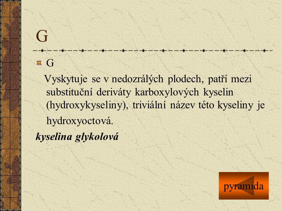 G G Vyskytuje se v nedozrálých plodech, patří mezi substituční deriváty karboxylových kyselin (hydroxykyseliny), triviální název této kyseliny je hydr