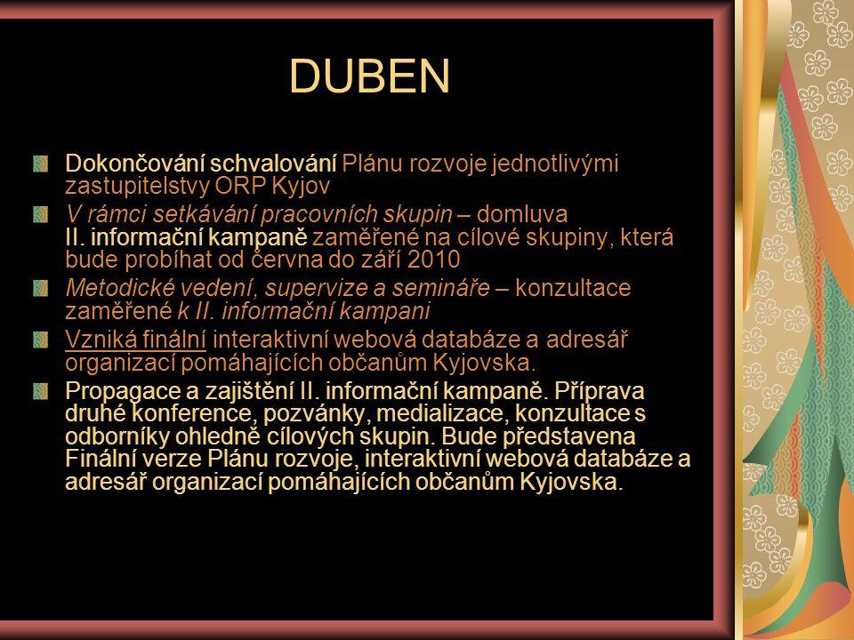KVĚTEN - ZÁŘÍ II.informační kampaň (příprava duben – konec září) – II.