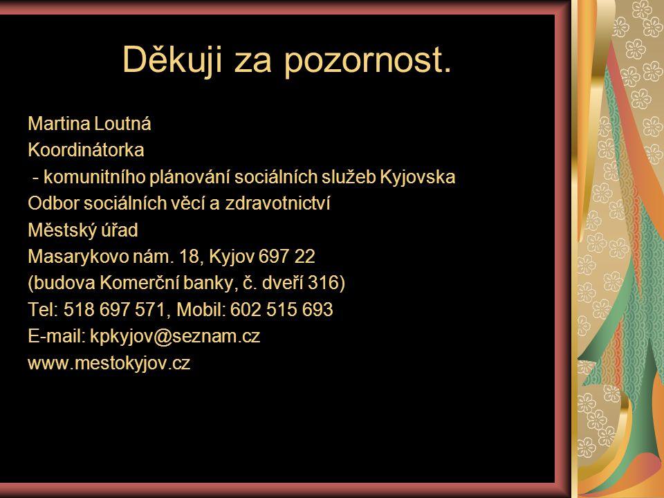 Děkuji za pozornost. Martina Loutná Koordinátorka - komunitního plánování sociálních služeb Kyjovska Odbor sociálních věcí a zdravotnictví Městský úřa