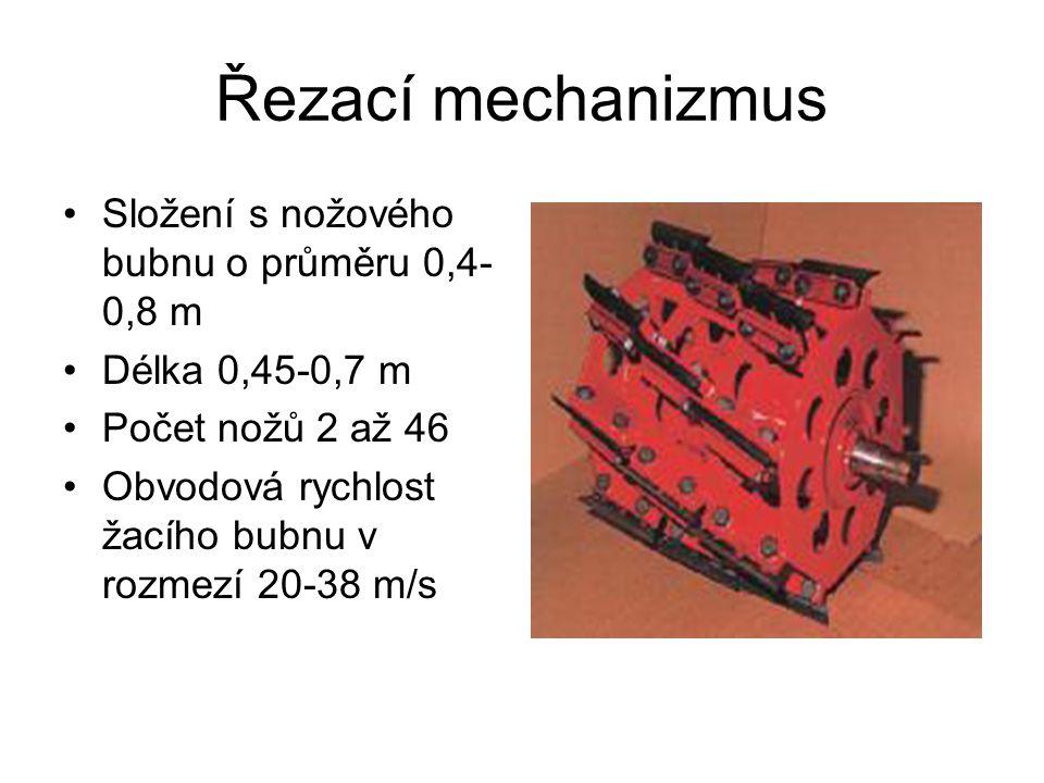 Řezací mechanizmus •Složení s nožového bubnu o průměru 0,4- 0,8 m •Délka 0,45-0,7 m •Počet nožů 2 až 46 •Obvodová rychlost žacího bubnu v rozmezí 20-3
