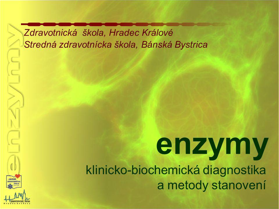 typ enzymu:  -amyláza (  -AMS) hydroláza katalyzuje (za přispění vody a aktivací ionty Ca 2+ a Cl - ) štěpení  -1,4-glukosidických vazeb škrobu a glykogenu lokalizace: pankreat (pankreatický izoenzym) slinné žlázy (slinný izoenzym) klinický význam: akutní zánět pankreatu, zánět příušních žláz, onemocnění jater, nádorová onemocnění, ledvinové nedostatečnosti biolog.