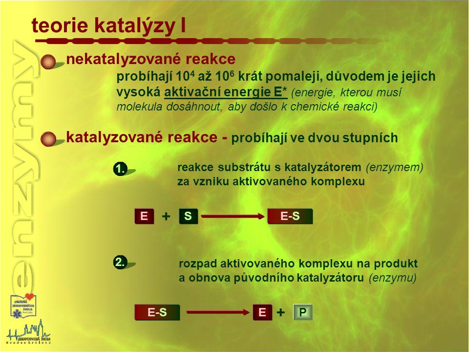 teorie katalýzy I nekatalyzované reakce probíhají 10 4 až 10 6 krát pomaleji, důvodem je jejich vysoká aktivační energie E* (energie, kterou musí mole