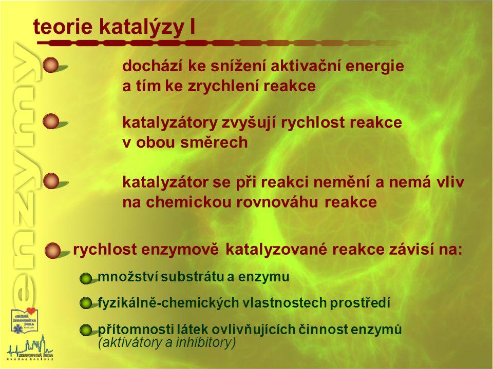 teorie katalýzy I rychlost enzymově katalyzované reakce závisí na: množství substrátu a enzymu fyzikálně-chemických vlastnostech prostředí přítomnosti