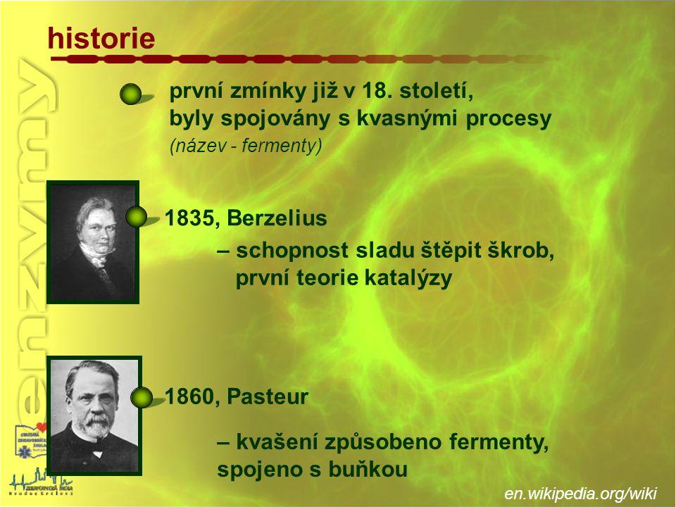 první zmínky již v 18. století, byly spojovány s kvasnými procesy (název - fermenty) historie – schopnost sladu štěpit škrob, první teorie katalýzy –