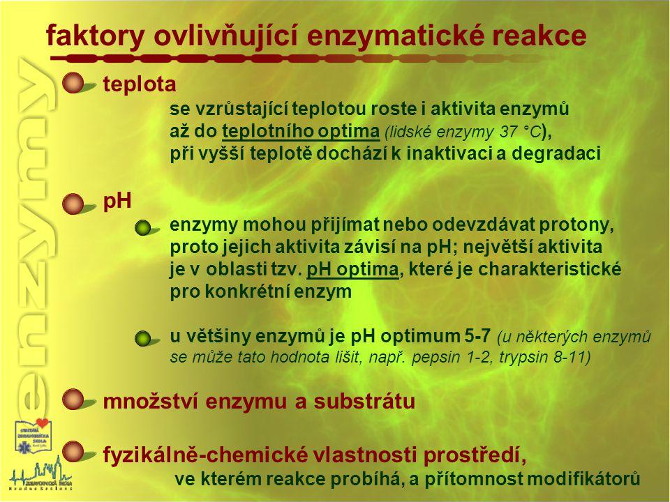faktory ovlivňující enzymatické reakce teplota se vzrůstající teplotou roste i aktivita enzymů až do teplotního optima (lidské enzymy 37 °C ), při vyš