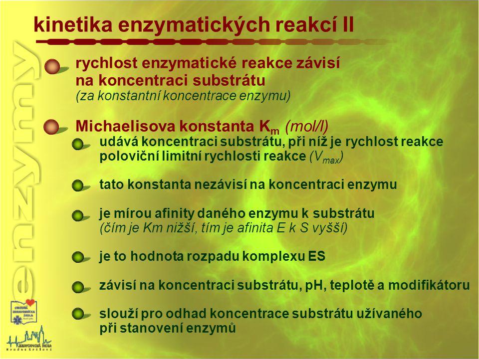 rychlost enzymatické reakce závisí na koncentraci substrátu (za konstantní koncentrace enzymu) Michaelisova konstanta K m (mol/l) udává koncentraci su