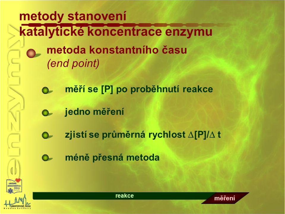 metody stanovení katalytické koncentrace enzymu metoda konstantního času (end point) měří se [P] po proběhnutí reakce jedno měření zjistí se průměrná