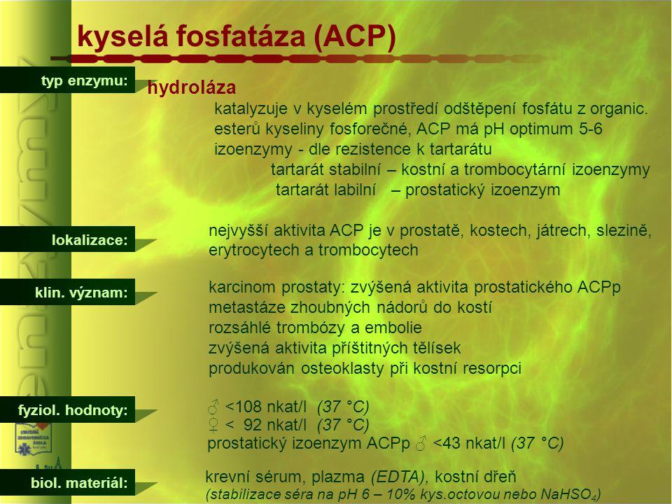 kyselá fosfatáza (ACP) typ enzymu: hydroláza katalyzuje v kyselém prostředí odštěpení fosfátu z organic. esterů kyseliny fosforečné, ACP má pH optimum