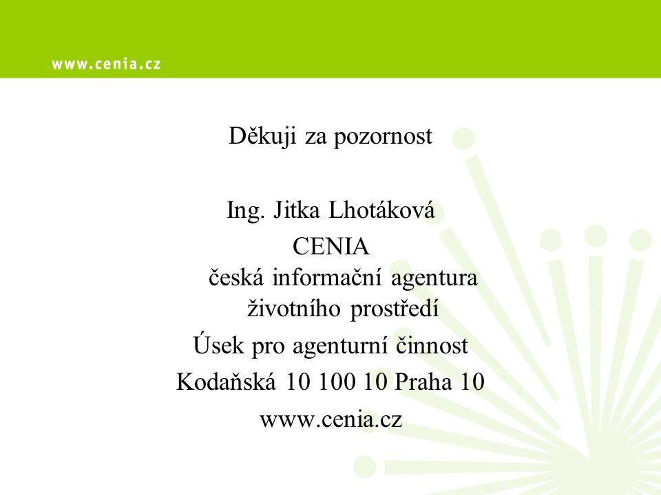 Děkuji za pozornost Ing. Jitka Lhotáková CENIA česká informační agentura životního prostředí Úsek pro agenturní činnost Kodaňská 10 100 10 Praha 10 ww