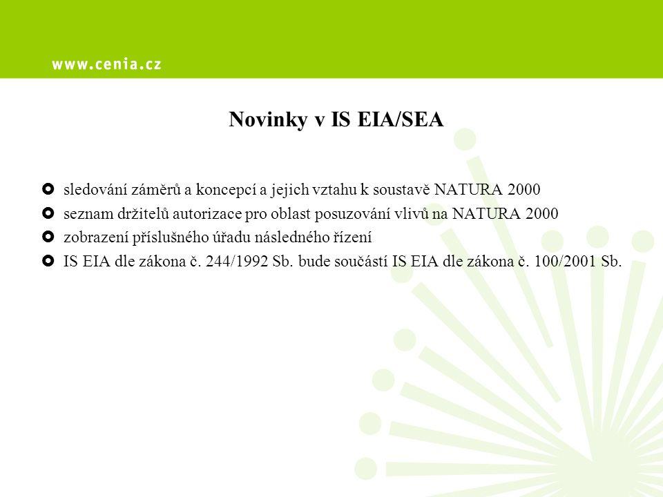 Novinky v IS EIA/SEA  sledování záměrů a koncepcí a jejich vztahu k soustavě NATURA 2000  seznam držitelů autorizace pro oblast posuzování vlivů na