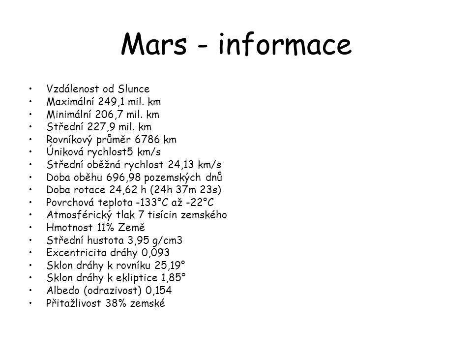 Mars - informace •Vzdálenost od Slunce •Maximální 249,1 mil. km •Minimální 206,7 mil. km •Střední 227,9 mil. km •Rovníkový průměr 6786 km •Úniková ryc