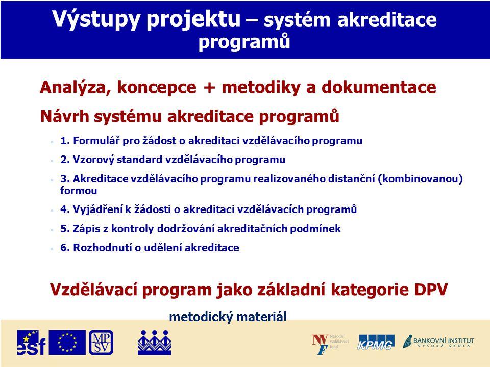 Výstupy projektu – systém akreditace programů Analýza, koncepce + metodiky a dokumentace Návrh systému akreditace programů • 1.