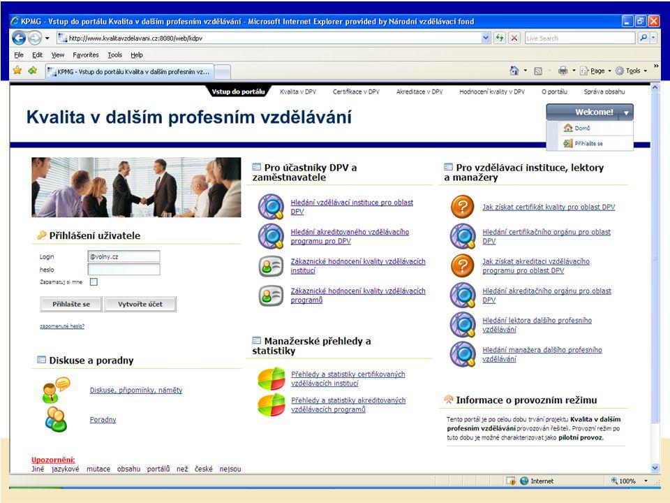 Výstupy projektu - informační podpora