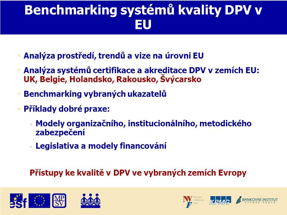 Benchmarking systémů kvality DPV v EU  Analýza prostředí, trendů a vize na úrovni EU  Analýza systémů certifikace a akreditace DPV v zemích EU: UK, Belgie, Holandsko, Rakousko, Švýcarsko  Benchmarking vybraných ukazatelů  Příklady dobré praxe: • Modely organizačního, institucionálního, metodického zabezpečení • Legislativa a modely financování Přístupy ke kvalitě v DPV ve vybraných zemích Evropy