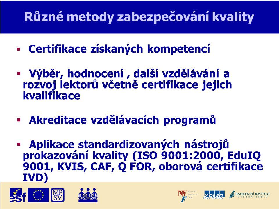 Různé metody zabezpečování kvality  Certifikace získaných kompetencí  Výběr, hodnocení, další vzdělávání a rozvoj lektorů včetně certifikace jejich kvalifikace  Akreditace vzdělávacích programů  Aplikace standardizovaných nástrojů prokazování kvality (ISO 9001:2000, EduIQ 9001, KVIS, CAF, Q FOR, oborová certifikace IVD)
