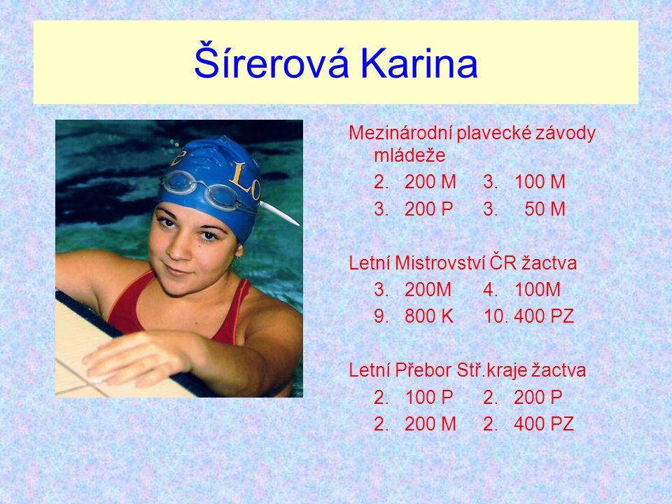 Šírerová Karina Mezinárodní plavecké závody mládeže 2. 200 M3. 100 M 3. 200 P3. 50 M Letní Mistrovství ČR žactva 3. 200M4. 100M 9. 800 K10. 400 PZ Let