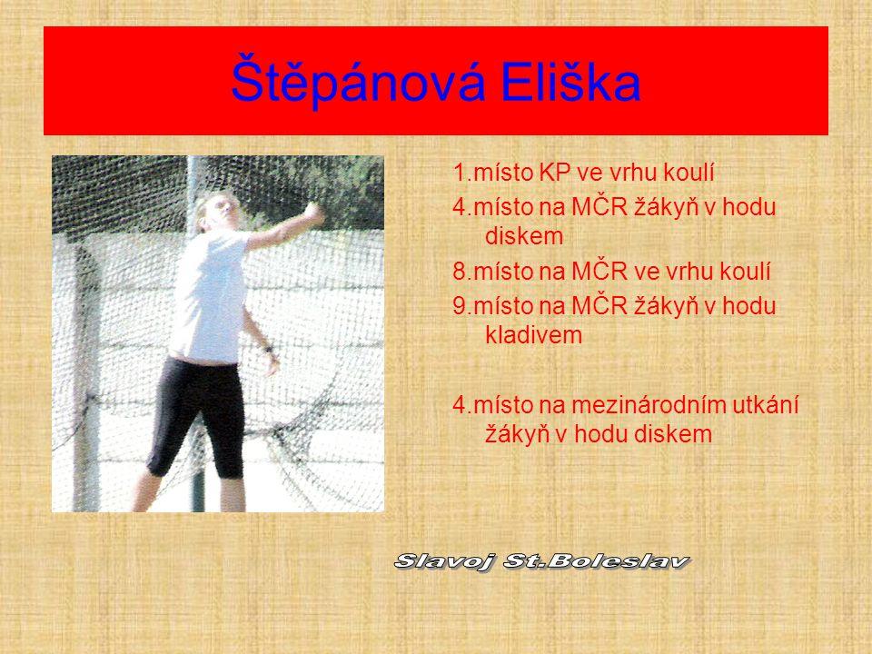 Štěpánová Eliška 1.místo KP ve vrhu koulí 4.místo na MČR žákyň v hodu diskem 8.místo na MČR ve vrhu koulí 9.místo na MČR žákyň v hodu kladivem 4.místo