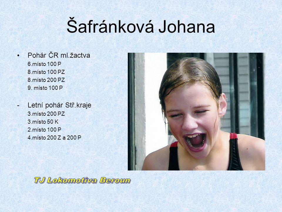 Šafránková Johana •Pohár ČR ml.žactva 6.místo 100 P 8.místo 100 PZ 8.místo 200 PZ 9. místo 100 P -Letní pohár Stř.kraje 3.místo 200 PZ 3.místo 50 K 2.
